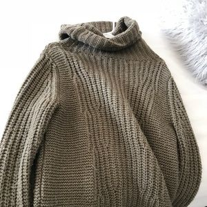 Olive green knitted turtle neck sweater